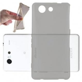 Cadorabo Hülle für Sony Xperia Z4 MINI / Z3 PLUS Compact in TRANSPARENT SCHWARZ - Handyhülle aus flexiblem TPU Silikon - Silikonhülle Schutzhülle Ultra Slim Soft Back Cover Case Bumper