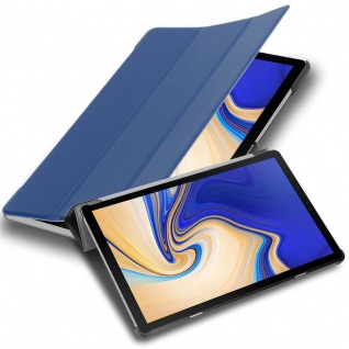 """Cadorabo Tablet Hülle für Samsung Galaxy Tab S4 (10, 5"""" Zoll) T830 / T835 in JERSEY DUNKEL BLAU Ultra Dünne Book Style Schutzhülle mit Auto Wake Up und Standfunktion aus Kunstleder"""