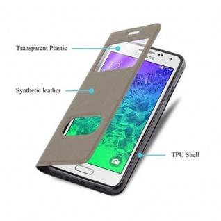 Cadorabo Hülle für Samsung Galaxy ALPHA in STEIN BRAUN - Handyhülle mit Magnetverschluss, Standfunktion und 2 Sichtfenstern - Case Cover Schutzhülle Etui Tasche Book Klapp Style - Vorschau 3
