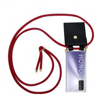 Cadorabo Handy Kette für Honor 30 in RUBIN ROT Silikon Necklace Umhänge Hülle mit Gold Ringen, Kordel Band Schnur und abnehmbarem Etui Schutzhülle