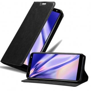 Cadorabo Hülle für LG K40 in NACHT SCHWARZ - Handyhülle mit Magnetverschluss, Standfunktion und Kartenfach - Case Cover Schutzhülle Etui Tasche Book Klapp Style