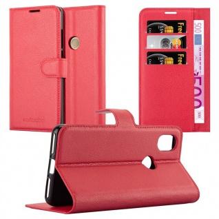 Cadorabo Hülle für WIKO VIEW 2 in KARMIN ROT - Handyhülle mit Magnetverschluss, Standfunktion und Kartenfach - Case Cover Schutzhülle Etui Tasche Book Klapp Style