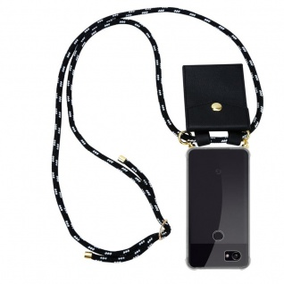 Cadorabo Handy Kette für Google Pixel 2 XL in SCHWARZ SILBER - Silikon Necklace Umhänge Hülle mit Gold Ringen, Kordel Band Schnur und abnehmbarem Etui ? Schutzhülle