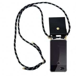 Cadorabo Handy Kette für Google Pixel 2 XL in SCHWARZ SILBER Silikon Necklace Umhänge Hülle mit Gold Ringen, Kordel Band Schnur und abnehmbarem Etui Schutzhülle