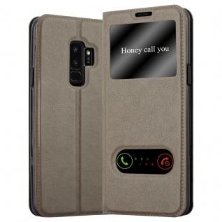 Cadorabo Hülle für Samsung Galaxy S9 PLUS in STEIN BRAUN - Handyhülle mit Magnetverschluss, Standfunktion und 2 Sichtfenstern - Case Cover Schutzhülle Etui Tasche Book Klapp Style