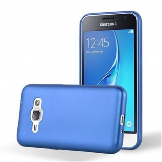 Cadorabo Hülle für Samsung Galaxy J1 2016 in METALLIC BLAU - Handyhülle aus flexiblem TPU Silikon - Silikonhülle Schutzhülle Ultra Slim Soft Back Cover Case Bumper