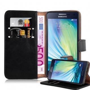 Cadorabo Hülle für Samsung Galaxy A5 2015 in GRAPHIT SCHWARZ ? Handyhülle mit Magnetverschluss, Standfunktion und Kartenfach ? Case Cover Schutzhülle Etui Tasche Book Klapp Style