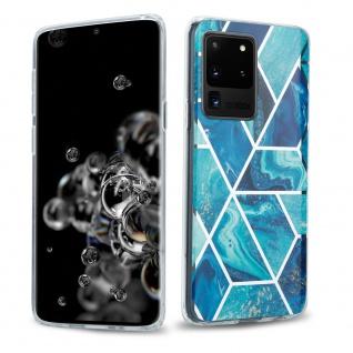 Cadorabo Hülle für Samsung Galaxy S20 ULTRA Hülle in Blaue Welle Marmor No.13 Handyhülle aus TPU Silikon mit Muster Mosaik Silikonhülle Schutzhülle Ultra Slim Back Cover Case Bumper