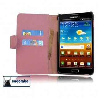 Cadorabo Hülle für Samsung Galaxy NOTE 1 in ANTIK ROSA ? Handyhülle aus glattem Kunstleder mit Standfunktion und Kartenfach ? Case Cover Schutzhülle Etui Tasche Book Klapp Style