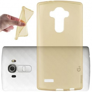 Cadorabo Hülle für LG G4 / G4 PLUS in TRANSPARENT GOLD - Handyhülle aus flexiblem TPU Silikon - Silikonhülle Schutzhülle Ultra Slim Soft Back Cover Case Bumper