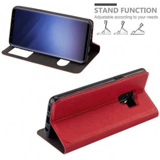 Cadorabo Hülle für Samsung Galaxy S9 in SAFRAN ROT - Handyhülle mit Magnetverschluss, Standfunktion und 2 Sichtfenstern - Case Cover Schutzhülle Etui Tasche Book Klapp Style - Vorschau 4