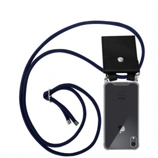 Cadorabo Handy Kette für Apple iPhone XR in TIEF BLAU - Silikon Necklace Umhänge Hülle mit Silber Ringen, Kordel Band Schnur und abnehmbarem Etui - Schutzhülle