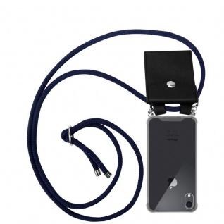 Cadorabo Handy Kette für Apple iPhone XR in TIEF BLAU Silikon Necklace Umhänge Hülle mit Silber Ringen, Kordel Band Schnur und abnehmbarem Etui Schutzhülle