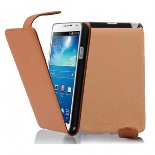 Cadorabo Hülle für Samsung Galaxy NOTE 3 in COGNAC BRAUN - Handyhülle im Flip Design aus strukturiertem Kunstleder - Case Cover Schutzhülle Etui Tasche Book Klapp Style