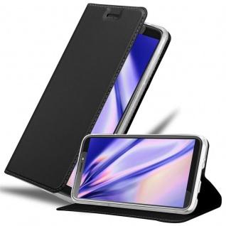 Cadorabo Hülle für HTC Desire 12 PLUS in CLASSY SCHWARZ - Handyhülle mit Magnetverschluss, Standfunktion und Kartenfach - Case Cover Schutzhülle Etui Tasche Book Klapp Style