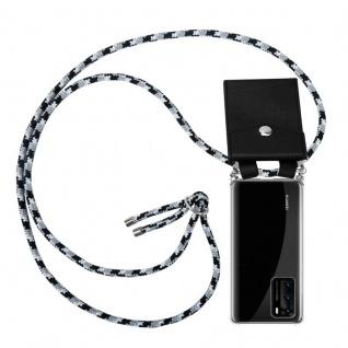 Cadorabo Handy Kette für Huawei P40 in SCHWARZ CAMOUFLAGE Silikon Necklace Umhänge Hülle mit Silber Ringen, Kordel Band Schnur und abnehmbarem Etui Schutzhülle