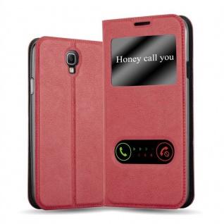 Cadorabo Hülle für Samsung Galaxy NOTE 3 NEO in SAFRAN ROT - Handyhülle mit Magnetverschluss, Standfunktion und 2 Sichtfenstern - Case Cover Schutzhülle Etui Tasche Book Klapp Style