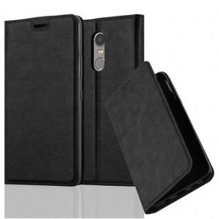 Cadorabo Hülle für Lenovo K6 NOTE in NACHT SCHWARZ - Handyhülle mit Magnetverschluss, Standfunktion und Kartenfach - Case Cover Schutzhülle Etui Tasche Book Klapp Style