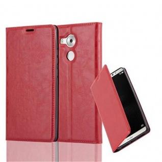 Cadorabo Hülle für Huawei MATE 8 in APFEL ROT - Handyhülle mit Magnetverschluss, Standfunktion und Kartenfach - Case Cover Schutzhülle Etui Tasche Book Klapp Style