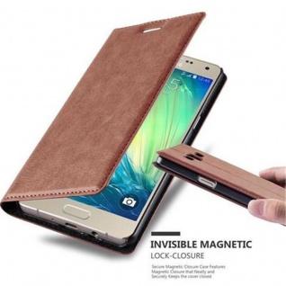 Cadorabo Hülle für Samsung Galaxy A5 2015 in CAPPUCCINO BRAUN - Handyhülle mit Magnetverschluss, Standfunktion und Kartenfach - Case Cover Schutzhülle Etui Tasche Book Klapp Style