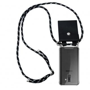 Cadorabo Handy Kette für Samsung Galaxy A6 PLUS 2018 in SCHWARZ SILBER Silikon Necklace Umhänge Hülle mit Silber Ringen, Kordel Band Schnur und abnehmbarem Etui Schutzhülle