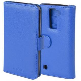 Cadorabo Hülle für LG K8 2016 in NEPTUN BLAU ? Handyhülle mit Magnetverschluss und 3 Kartenfächern ? Case Cover Schutzhülle Etui Tasche Book Klapp Style