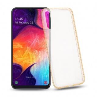 Cadorabo Hülle für Samsung Galaxy A50 - Hülle in TRANSPARENT GOLD ? Handyhülle aus TPU Silikon im Strass Design - Silikonhülle Schutzhülle Ultra Slim Soft Back Cover Case Bumper