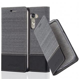 Cadorabo Hülle für LG G3 in GRAU SCHWARZ - Handyhülle mit Magnetverschluss, Standfunktion und Kartenfach - Case Cover Schutzhülle Etui Tasche Book Klapp Style