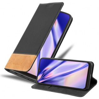 Cadorabo Hülle für Samsung Galaxy A10 in SCHWARZ BRAUN Handyhülle mit Magnetverschluss, Standfunktion und Kartenfach Case Cover Schutzhülle Etui Tasche Book Klapp Style