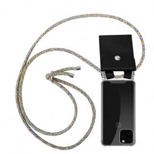 Cadorabo Handy Kette für Apple iPhone 11 PRO MAX (XI PRO MAX) in RAINBOW - Silikon Necklace Umhänge Hülle mit Silber Ringen, Kordel Band Schnur und abnehmbarem Etui - Schutzhülle