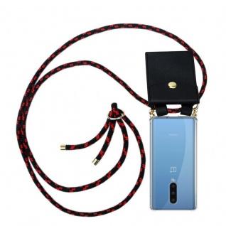 Cadorabo Handy Kette für Oneplus 8 in SCHWARZ ROT Silikon Necklace Umhänge Hülle mit Gold Ringen, Kordel Band Schnur und abnehmbarem Etui Schutzhülle