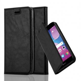 Cadorabo Hülle für Huawei Y6 PRO 2017 in NACHT SCHWARZ - Handyhülle mit Magnetverschluss, Standfunktion und Kartenfach - Case Cover Schutzhülle Etui Tasche Book Klapp Style