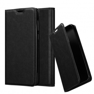 Cadorabo Hülle für Honor 8C in NACHT SCHWARZ - Handyhülle mit Magnetverschluss, Standfunktion und Kartenfach - Case Cover Schutzhülle Etui Tasche Book Klapp Style