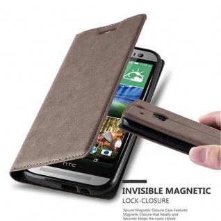 Cadorabo Hülle für HTC ONE M8 (2.Generation) in KAFFEE BRAUN - Handyhülle mit Magnetverschluss, Standfunktion und Kartenfach - Case Cover Schutzhülle Etui Tasche Book Klapp Style