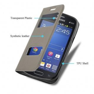 Cadorabo Hülle für Samsung Galaxy TREND LITE in STEIN BRAUN ? Handyhülle mit Magnetverschluss, Standfunktion und 2 Sichtfenstern ? Case Cover Schutzhülle Etui Tasche Book Klapp Style - Vorschau 3
