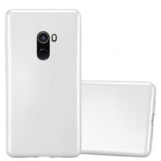 Cadorabo Hülle für Xiaomi Mi Mix 2 in METALLIC SILBER - Handyhülle aus flexiblem TPU Silikon - Silikonhülle Schutzhülle Ultra Slim Soft Back Cover Case Bumper