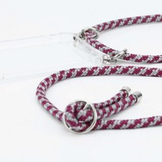 Cadorabo Handy Kette für LG V30 in ROT WEISS - Silikon Necklace Umhänge Hülle mit Silber Ringen, Kordel Band Schnur und abnehmbarem Etui - Schutzhülle - Vorschau 2