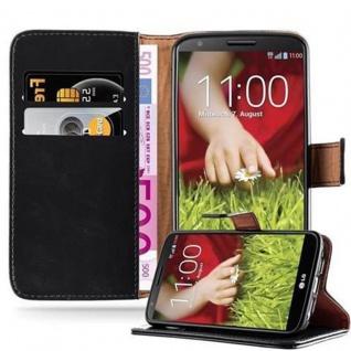 Cadorabo Hülle für LG G2 in GRAPHIT SCHWARZ - Handyhülle mit Magnetverschluss, Standfunktion und Kartenfach - Case Cover Schutzhülle Etui Tasche Book Klapp Style