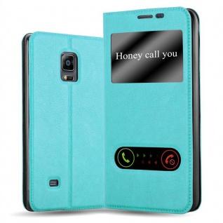 Cadorabo Hülle für Samsung Galaxy NOTE EDGE in MINT TÜRKIS - Handyhülle mit Magnetverschluss, Standfunktion und 2 Sichtfenstern - Case Cover Schutzhülle Etui Tasche Book Klapp Style