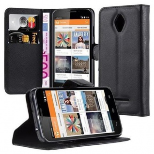 Cadorabo Hülle für Vodafone Smart 4 - Hülle in PHANTOM SCHWARZ ? Handyhülle mit Kartenfach und Standfunktion - Case Cover Schutzhülle Etui Tasche Book Klapp Style