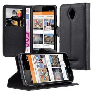 Cadorabo Hülle für Vodafone Smart 4 in PHANTOM SCHWARZ - Handyhülle mit Magnetverschluss, Standfunktion und Kartenfach - Case Cover Schutzhülle Etui Tasche Book Klapp Style