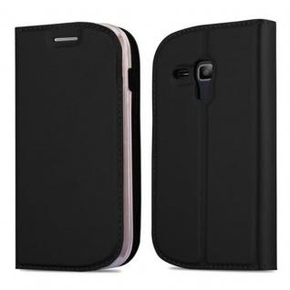 Cadorabo Hülle für Samsung Galaxy TREND LITE in CLASSY SCHWARZ - Handyhülle mit Magnetverschluss, Standfunktion und Kartenfach - Case Cover Schutzhülle Etui Tasche Book Klapp Style