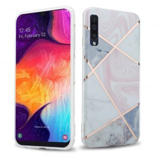 Cadorabo Hülle für Samsung Galaxy A50 / A30s Hülle in Pink grau weiß Marmor No.10 Handyhülle aus TPU Silikon mit Muster Mosaik Silikonhülle Schutzhülle Ultra Slim Back Cover Case Bumper