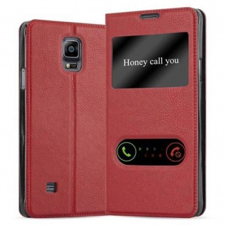 Cadorabo Hülle für Samsung Galaxy NOTE 4 in SAFRAN ROT Handyhülle mit Magnetverschluss, Standfunktion und 2 Sichtfenstern Case Cover Schutzhülle Etui Tasche Book Klapp Style