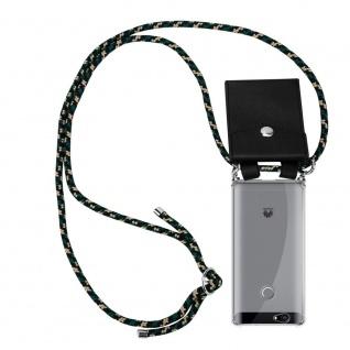 Cadorabo Handy Kette für Huawei NOVA in CAMOUFLAGE - Silikon Necklace Umhänge Hülle mit Silber Ringen, Kordel Band Schnur und abnehmbarem Etui - Schutzhülle