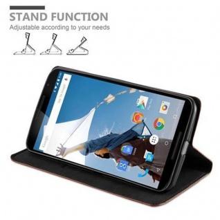 Cadorabo Hülle für Lenovo Google NEXUS 6 / 6X in CAPPUCCINO BRAUN - Handyhülle mit Magnetverschluss, Standfunktion und Kartenfach - Case Cover Schutzhülle Etui Tasche Book Klapp Style - Vorschau 5