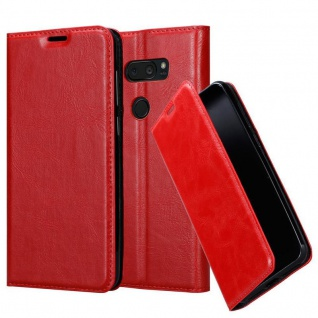 Cadorabo Hülle für LG V35 in APFEL ROT - Handyhülle mit Magnetverschluss, Standfunktion und Kartenfach - Case Cover Schutzhülle Etui Tasche Book Klapp Style