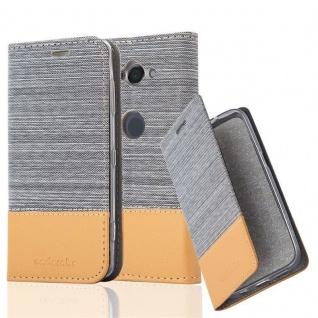 Cadorabo Hülle für Sony Xperia XZ2 COMPACT in HELL GRAU BRAUN - Handyhülle mit Magnetverschluss, Standfunktion und Kartenfach - Case Cover Schutzhülle Etui Tasche Book Klapp Style