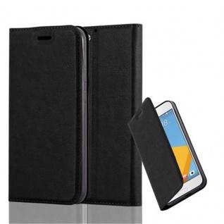Cadorabo Hülle für HTC One A9S in NACHT SCHWARZ Handyhülle mit Magnetverschluss, Standfunktion und Kartenfach Case Cover Schutzhülle Etui Tasche Book Klapp Style