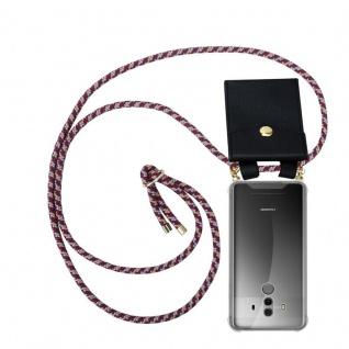 Cadorabo Handy Kette für Huawei MATE 10 PRO in ROT GELB WEISS - Silikon Necklace Umhänge Hülle mit Gold Ringen, Kordel Band Schnur und abnehmbarem Etui ? Schutzhülle